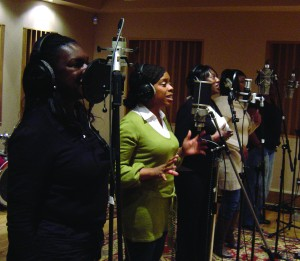 Black Voices Acapella group from Birmingham recording their parts in Weekily at Blast studio
